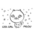 Cat with text meow bubble clear vector image vector image