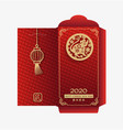 chinese new year 2020 money red envelopes packet vector image
