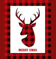 christmas card with reindeer head on buffalo plaid vector image vector image