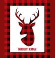 christmas card with reindeer head on buffalo plaid vector image