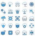 cloud computing technology colored icons vector image