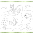 Coloring book with fisherman vector image vector image