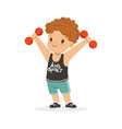 curly boy exercising with dumbbells kid doing vector image vector image
