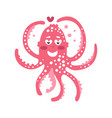 cute cartoon pink enamored octopus character vector image vector image