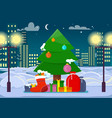 decorated christmas tree with presents outdoors vector image vector image