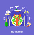 delicious restaurant food composition vector image vector image