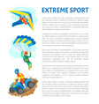 extreme sport poster with motorbike and skydiver vector image vector image
