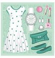 Fashion set in pastel tones with a dress vector image vector image