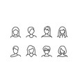 female face various types signs thin line icon set vector image