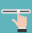 finger sliding the slider button flat design vector image