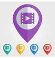 flat pin with movie icon vector image vector image