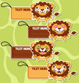 Four cute cartoon Lions stickers set2 vector image