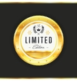 Gold badge with black text isolated vector image vector image