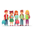group teen pupils school boys and girls teens vector image
