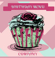 happy birthday cupcakemenu cover vector image vector image