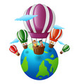 happy cartoon kids inside a hot air balloon flying vector image