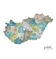 hungary higt detailed map with subdivisions vector image vector image