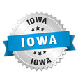 Iowa round silver badge with blue ribbon vector image vector image