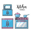 kitchen utensils traditional object element vector image vector image
