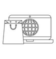 laptop with shopping bag and planet vector image vector image