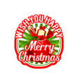 merry christmas santa gift bag holiday icon vector image