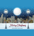 merry christmas with cityscape vector image