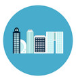 modern office buildings icon web button on round vector image