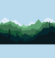 mountain landscape with deer silhouette pine vector image