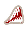 mouth and teeth growl isolated animal jaws on vector image