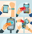 nfc technology process banner set flat style vector image vector image