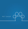 pet shop linear paw on blue background vector image