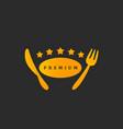 premium five stars gold golden knife and fork vector image vector image