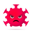 red angry virus emoticon coronavirus emoji vector image vector image