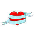 red heart wrapped with blue ribbon banner colored vector image vector image