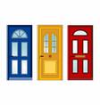 red yellow blue doors vector image vector image