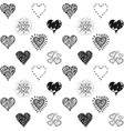 seamless hearts pattern hand drawn sketch vector image