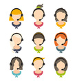 Set of flat design of a girls with headset vector image vector image