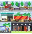 set of food delivery posters banners in vector image vector image
