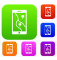 smartphone with gps navigator set collection vector image vector image