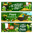 st patrick day holiday banners vector image vector image
