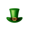 st patricks day green leprechaun hat vector image