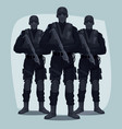 three people of specialized tactical team vector image vector image