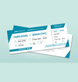 two airline tickets airplane boarding ticket with vector image vector image