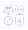 Vegetarian burger chips and coffee icons vector image vector image