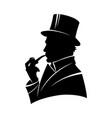 vintage monochrome gentleman silhouette vector image vector image