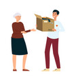 volunteer man stands giving donation box with vector image vector image
