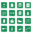waste and garbage icons set grunge vector image vector image