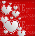 White hearts on a red background vector image