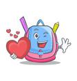 with heart school bag character cartoon vector image