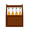 wooden box of beer bottles vector image